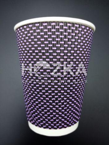 Стакан гофрированный L 400 мл 20 шт 3Д фиолетовый - 1