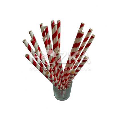 Трубочки бумажные красно-белые 50 шт 19,5 см - 1