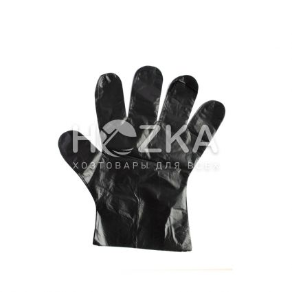 Перчатки ПЕ 100 шт чёрные - 1