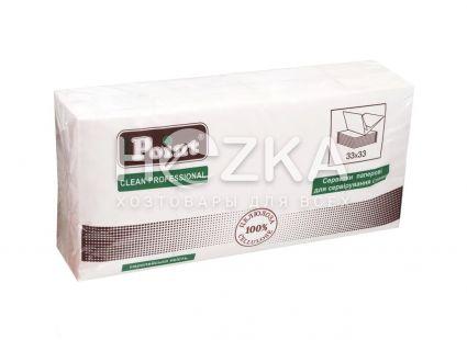 Салфетки 33*33 2 слоя белые 1/8 250 шт HORECA (4/уп) - 1