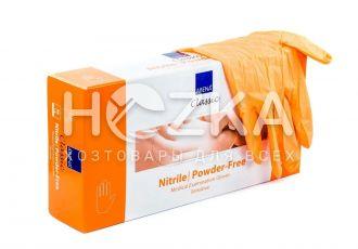 Перчатки нитриловые неопудренные оранжевые  M 100 шт