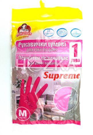 """Перчатки резиновые """"Помічниця"""" М розовые - 1"""