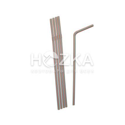Трубочки гофрированные полосатые 21 см, d=5 мм, 200 шт - 1