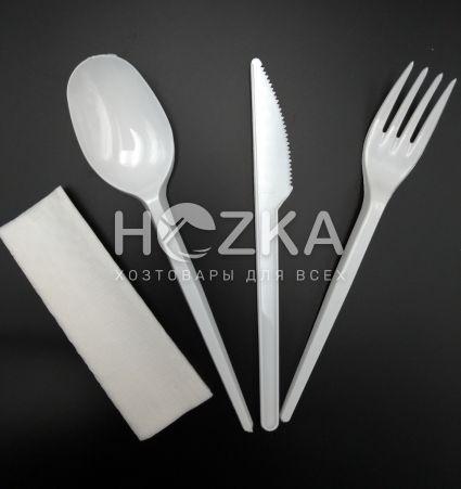 Набор одноразовы белый (салфетка, вилка, нож, ложка) - 1