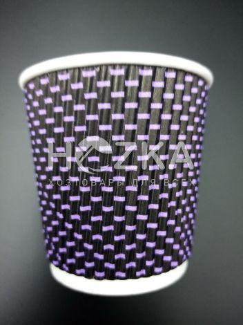 Стакан гофрированный L 110 мл 20 шт 3Д фиолетовый - 1