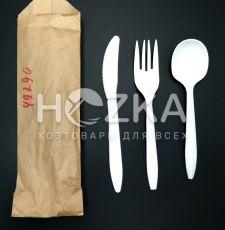 Набор одноразовый из кукурузного крахмала (вилка, нож, ложка, крафт пакет)