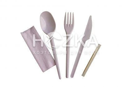 Набор (вилка/нож/ложка/зубочистка/салфетка) одноразовый белый - 2