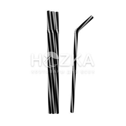 Трубочки Винтовые Фреш гофр чёрно-белые 23,5 см 100 шт - 1