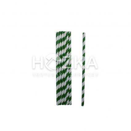 Трубочки бумажные зелёные 19,5 см 50 шт - 1