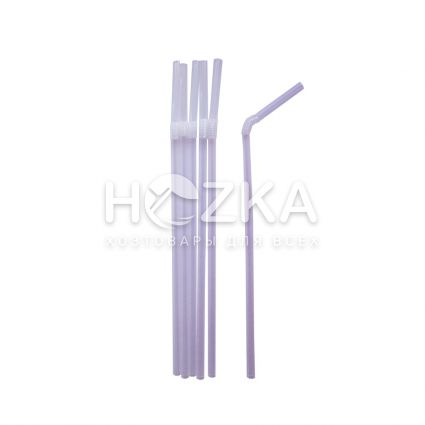 Трубочки гофрированные прозрачные 21 см, d=5 мм, 1000 шт - 1