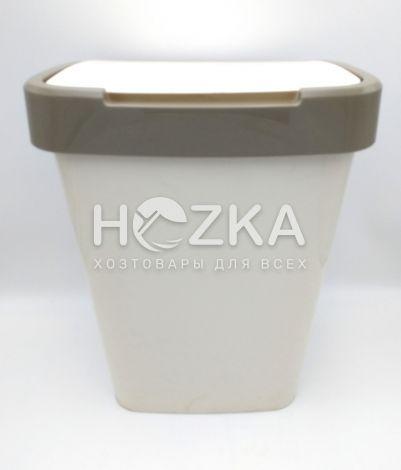 Ведро 25 л белое с крышкой (белая роза/какао) - 1