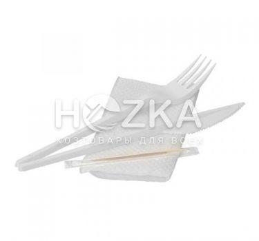 Набор (вилка, нож, салфетка, зубочистка) одноразовый - 1