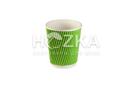 Стакан гофрированый 185мл 25шт зелёный - 1