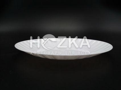Тарелка 205 мм десертная 10 шт. стеклоподобная белая - 3