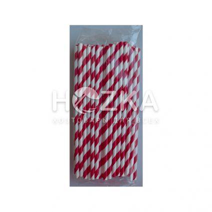 Трубочки бумажные красно-белые 50 шт 19,5 см - 3