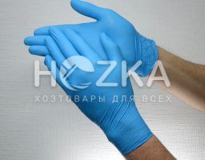 Перчатки нитриловые неопудренные синие  L 100 шт