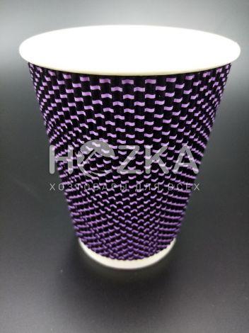 Стакан гофрированный L 400 мл 20 шт 3Д фиолетовый - 2