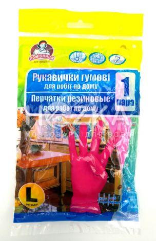 "Перчатки резиновые ""Помічниця"" L розовые - 1"
