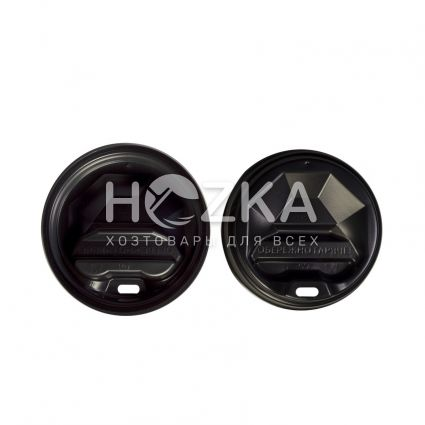 Крышка пластик U д/бум. стакана 69 (50 шт) черная - 1