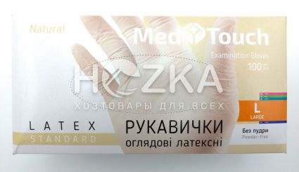 Перчатки MedTouch латексные б/пудры 100шт L - 1