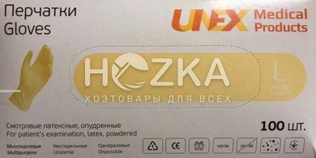 Перчатки латексные UNEX 100 шт. L