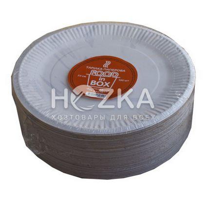 Тарелка бумажная круглая 230 мм 100 шт/уп - 2