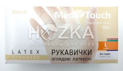 Перчатки MedTouch  латексные б/пудры 100шт L