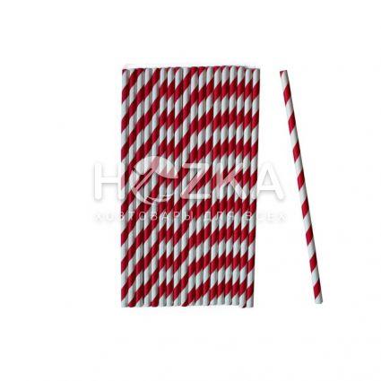 Трубочки бумажные красно-белые 50 шт 19,5 см - 2